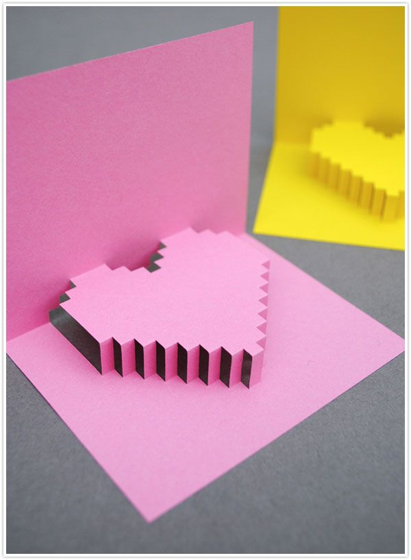 valentine's day valentine craft diy project pixelated pop up card pink heart best cutest easy
