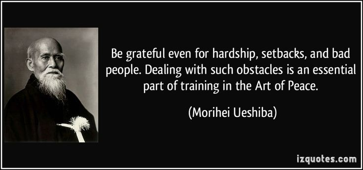 Be grateful even for hardship, setbacks, and bad people. Dealing with such obstacles is an essential part of training in the Art of Peace. - Morihei Ueshiba
