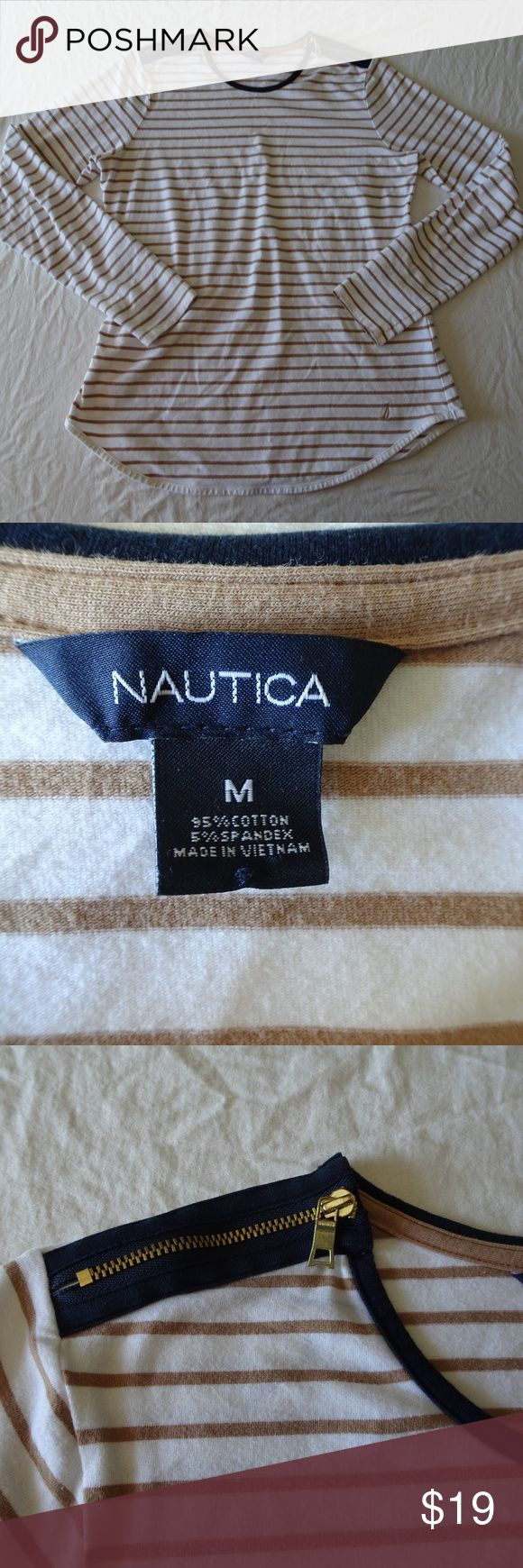 """Nautica Long Sleeve Striped Top with Zipper Detail Excellent condition. White / camel stripes with blue and brass zipper detail on shoulder Lightweight Across at armpit 17"""" Length approx. 25""""  All items come from a non-smoking home! Nautica Tops"""