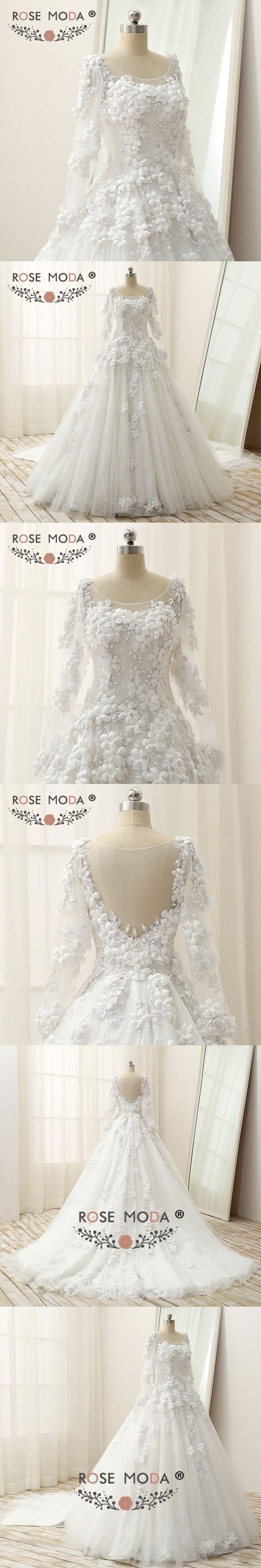 Rose Moda Luxury Long Sleeves Ball Gown with Royal Train Vintage Lace Muslim Wedding Dress 1M Train 3D Flowers Real Photos