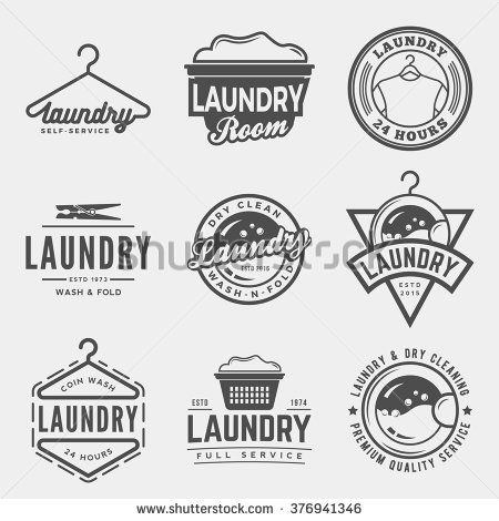vector set of laundry logos, emblems and design elements. logotype templates and…