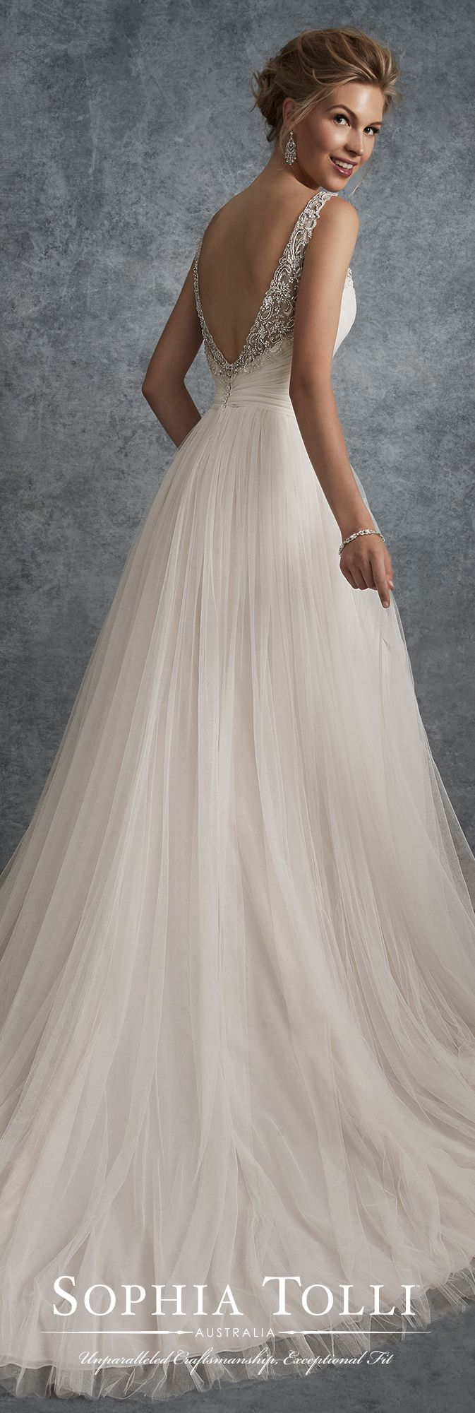 Sophia Tolli Fall 2017 Wedding Gown Collection - Style No. Y21755 Delta - sleeveless soft tulle A-line wedding dress with beaded illusion shoulder straps and V-neckline