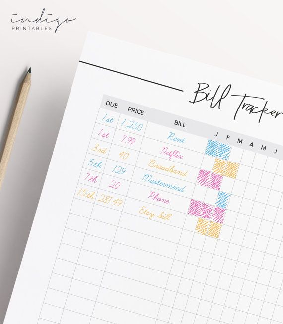 Monthly Bill Tracker, 2 Pages Printable PDF   Created by @IndigoPrintables  Your Bill Planner has been created to help you stay on top of your monthly bills. Your Bill Tracker has been carefully designed to help you manage your money, track bills and help your organize a part of your finances. Your printable planner has been designed to look elegant and sleek; and to function beautifully in your planner with enough space for hole punching on either side. Heres whats included: • Bill Tracker…