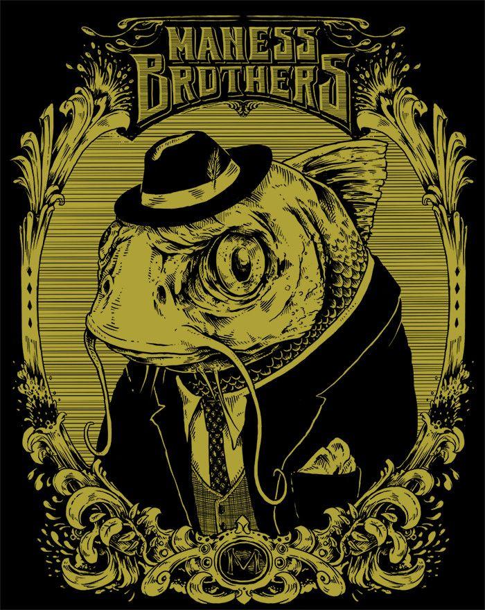 The Maness Brothers Dapper Catfish Sticker