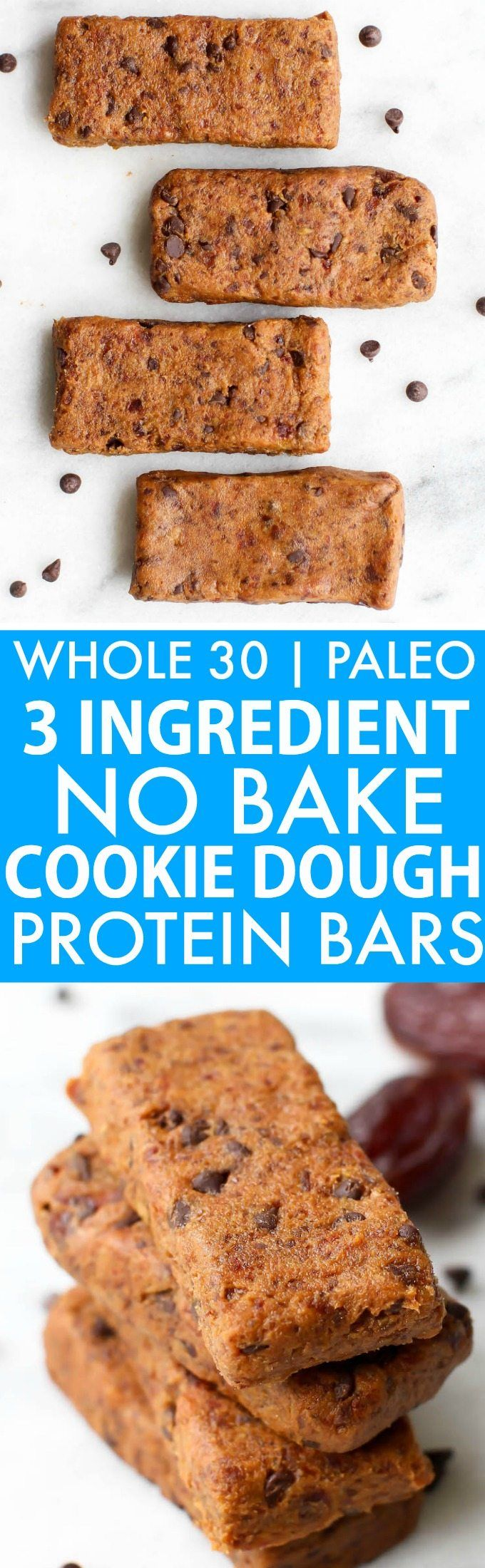 3 Ingredient No Bake Cookie Dough Protein Bars (Whole 30, Paleo, V, GF)- Whole30 approved and larabar copycat, these no bake bars are chewy and taste like cookie dough- Low sugar and packed with protein! {whole 30, vegan, gluten free, paleo recipe}- thebigmansworld.com