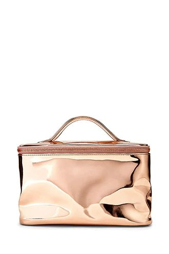 Faux patent leather rose gold makeup vanity bag