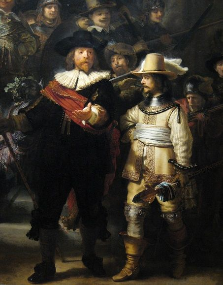 Rembrandt van Rijn, detail of the so called 'Nightwatch'. Curious where it was painted and where it was on display? Take the city walk in Rembrandt's footsteps through Amsterdam.