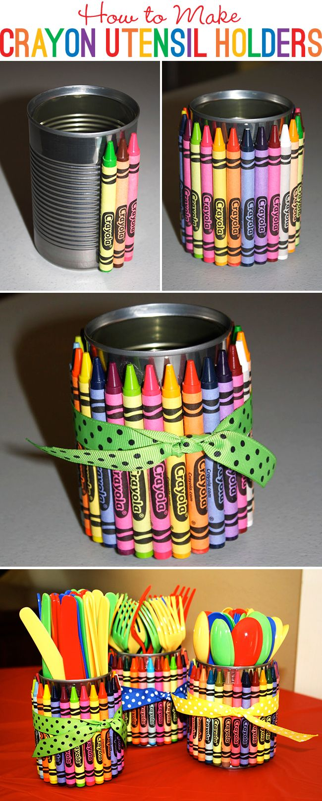 DIY How to make crayon utensil holders...could use in the classroom to hold teacher supplies or for parties to hold utensils.  Just gives such an added pop of color & whimsy!