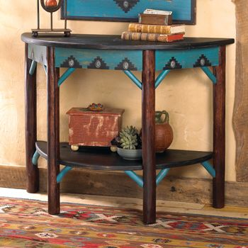 """Yakima Hall Table_$1,570.00_   Item # 10057-2_  Crow's Nest Exclusive._  For a home that's warm and welcoming, go West! This duo works together or separately, built of sturdy birch and pine with hand-painted details and concho accents. Item ships in 4-6 weeks. 45"""" w x 34"""" h x 20"""" d. Made in the USA. Mirror - No. 10057-1"""