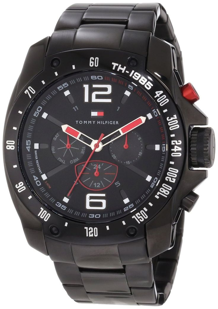 Tommy Hilfiger Men's 1790870 Sport Black Ion-Plated Black Bezel Multi-Function Bracelet Watch >>> Continue to the watch at the image link.