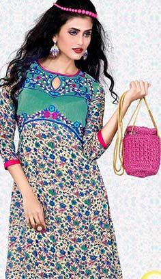 Indian Fashionable Cream Georgette Kurti