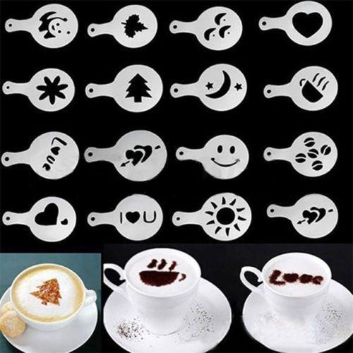 Dealsocean 16ピース型コーヒーミルクケーキカップケーキステンシルテンプレートコーヒーカプチーノテンプレートばらまくパッドダスタースプレーツール