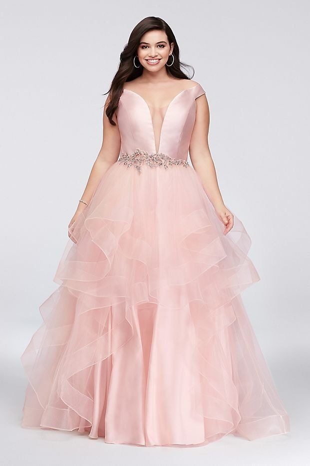 1434d9f61e825 Mikado and Tulle Plunge Plus Size Ball Gown Prom Dress from David s Bridal