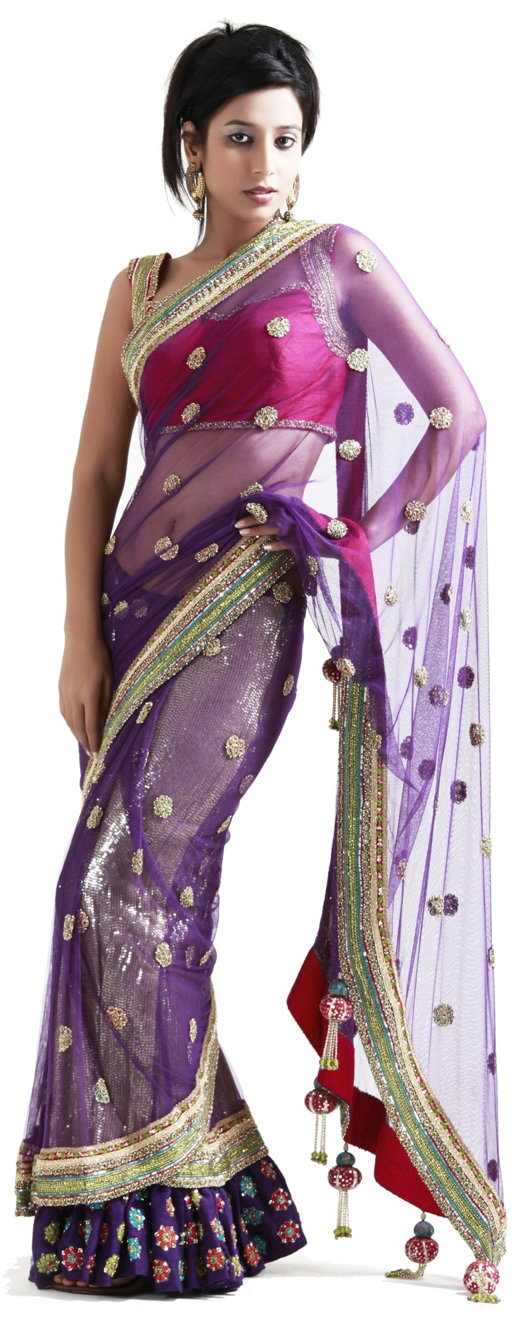 #Purple #stitched #saree with frills - SAREES - WOMEN'S WEAR