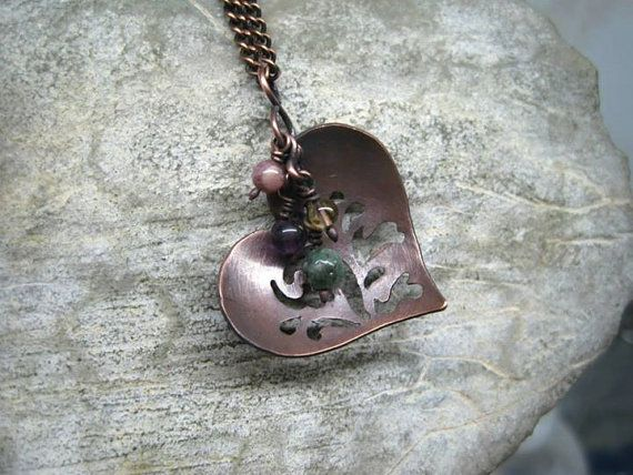 Heart  pendant  / Optional minerals / gift by DrofiJewelry on Etsy