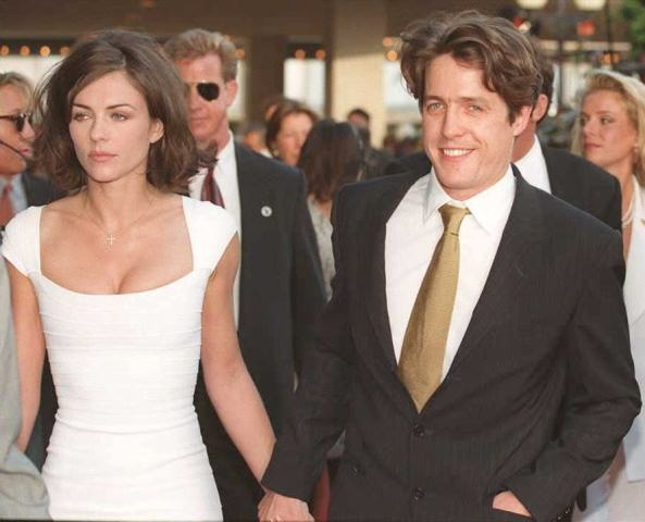 Elizabeth Hurley and Hugh Grant in July 1995 at the premiere of 'Nine Months'