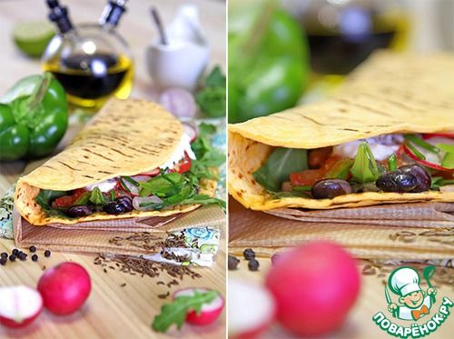 Тако с фасолевым гуакамоле и салатом - кулинарный рецепт