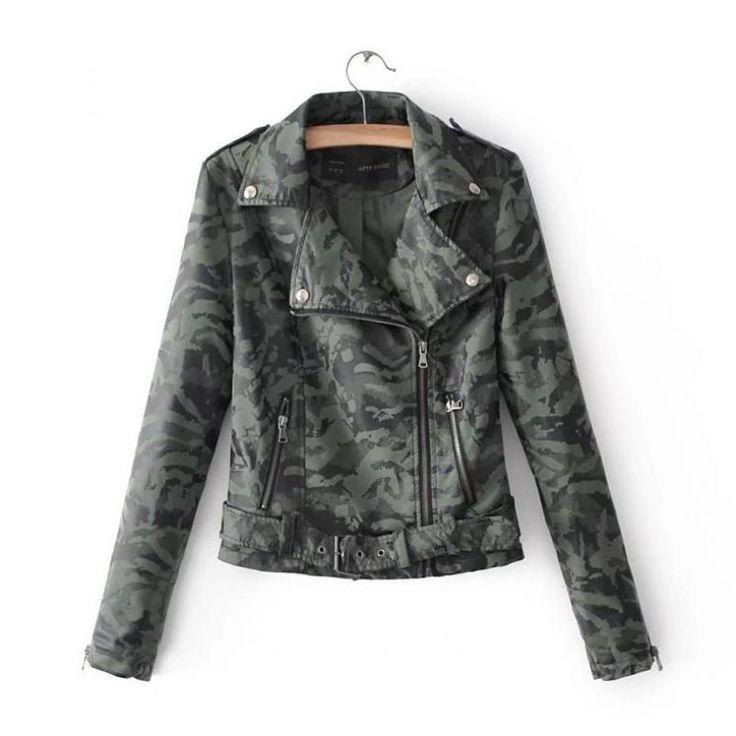 Европейский Для женщин Пальто и пуховики, Куртки осень 2017 г. новый камуфляж из искусственной кожи Для женщин на молнии кожаный ремень короткая куртка, Tide 011504купить в магазине Modern woman наAliExpress
