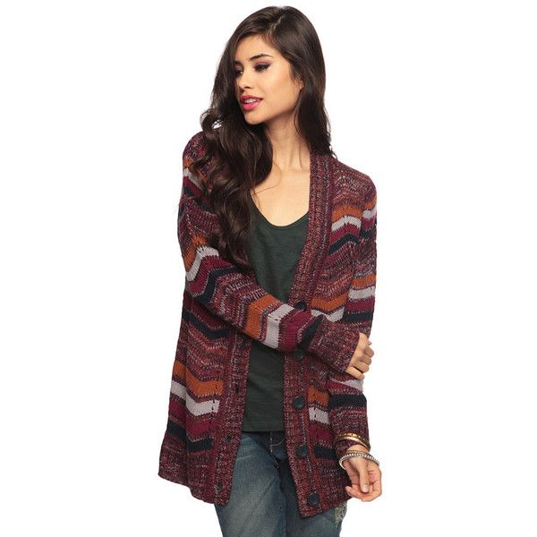 Knit Sweater With Zig Zag Pattern : Forever zig zag patterned knit cardigan violet harmon