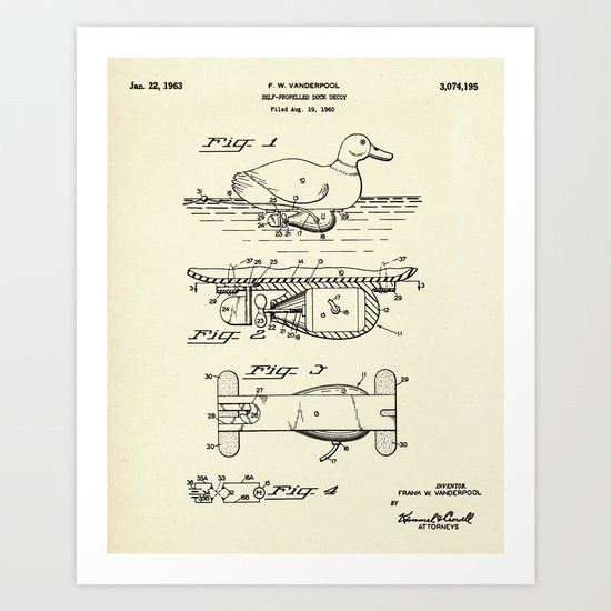 Self-Propelled Duck Decoy-1963.<br/> collectibles, us patent, patent print, patent art...