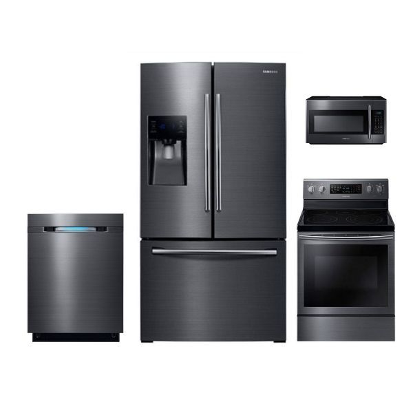 exceptional Black Kitchen Appliance Packages #6: Samsung Black Stainless Steel Electric Kitchen Appliance Package