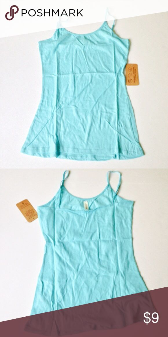 Aqua Spaghetti Straps Tank Top Adjustable L Adjustable tank straps Imported 60% organic cotton, 40% recycled polyester Threads 4 Thought Tops Tank Tops