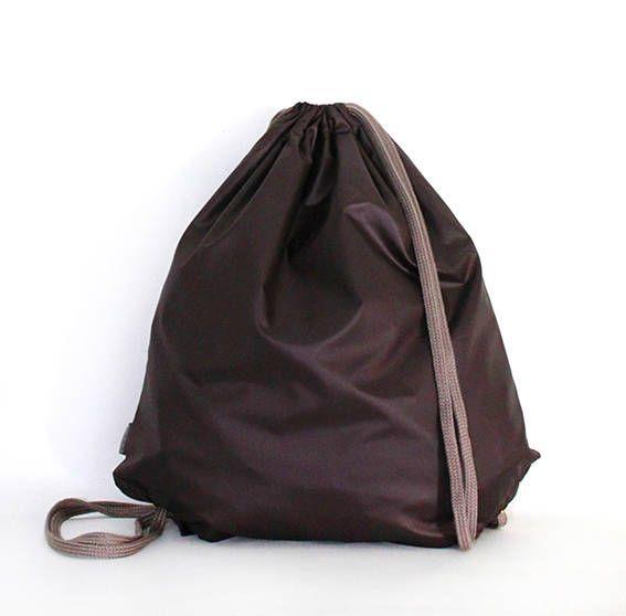 Glossy brown  waterproof drawstring bag backpack by PopaStore on Etsy