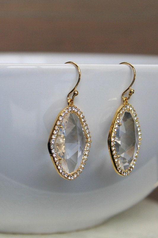 Crystal glass earrings wedding earrings bridal earrings gold earrings wedding jewelry bridal jewelry bridesmaids earrings bridesmaids gift by BatelBoutiqueBridal