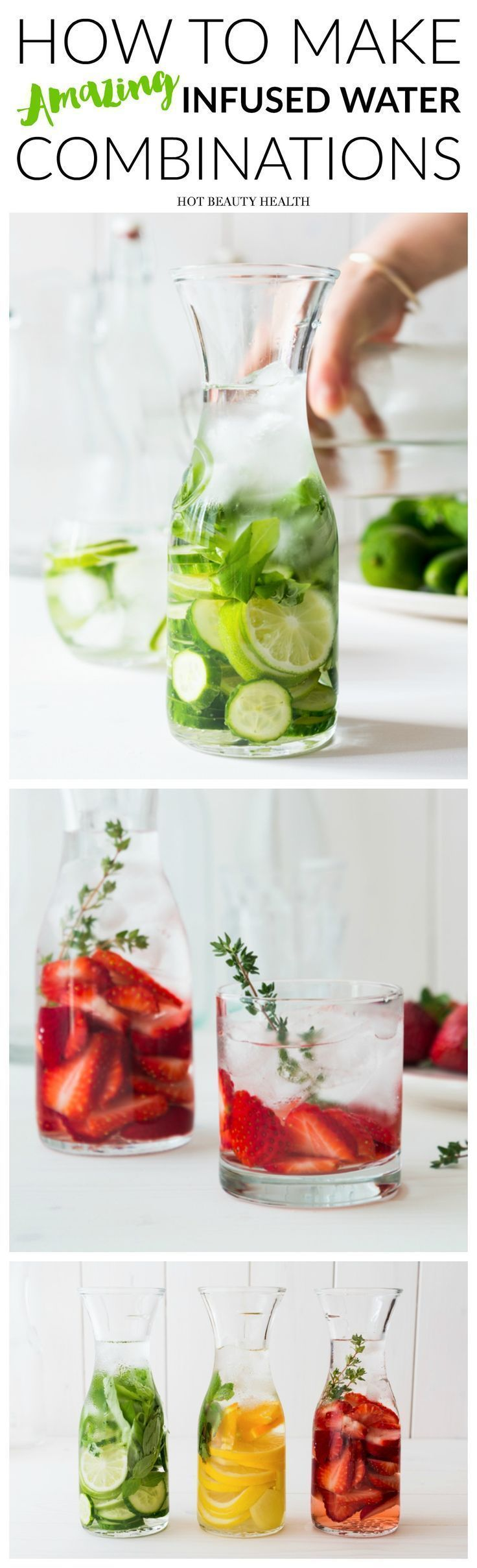 Infused water aka detox water is perfect for aiding in your weight loss resolutions for the New Year, a body cleanse, and glowing skin. Click to see all the many ways to make infused water.