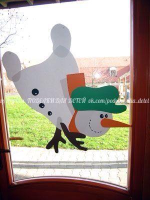 Muñeco de nieve para ventana