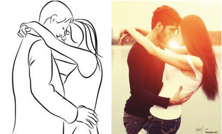 Довольно простая, но интересная поза. Молодой человек обнимает девушку за талию, а она скрещивает кисти рук у него за головой. Съемка ведется в профиль.