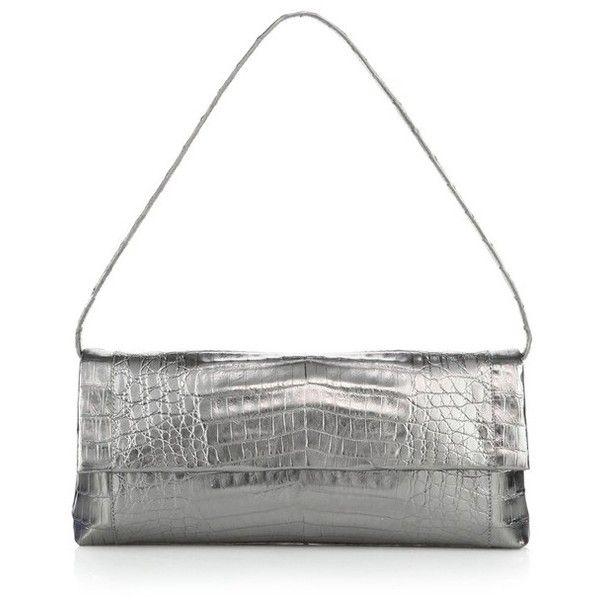 Nancy Gonzalez Gotham Metallic Crocodile Clutch ($2,145) ❤ liked on Polyvore featuring bags, handbags, clutches, metallic, flap purse, white purse, top handle purse, white handbags and metallic clutches