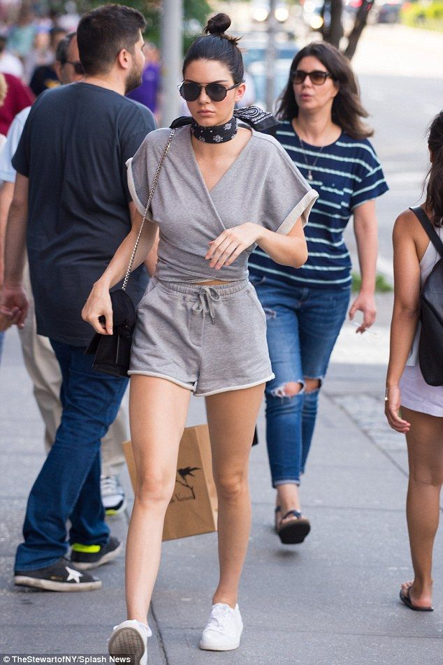 No sweat: Kendall Jenner showed off her legs in a sweatsuit while out and about in the Soho neighbourhood of New York on Sunday