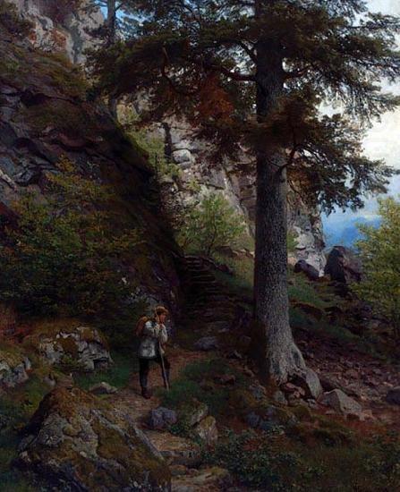 Hans Gude (1825-1903): Hvile pa stien, 1878