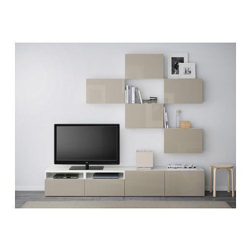 BESTÅ TV úložná kombinácia - biela/Selsviken vysokolesklá/béžová, jazdec zásuvky, jemné zatváranie - IKEA