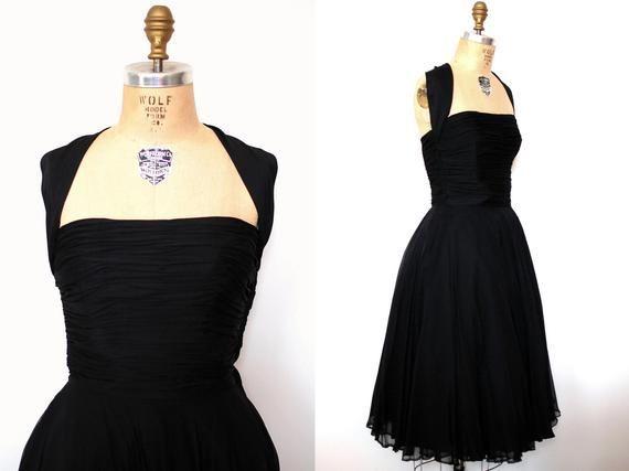Feb 24, 2020 – 50s cocktail dress / 50s black silk chiffon gathered formal dress Source by etsy #50s #Black #Chiffon #Co…