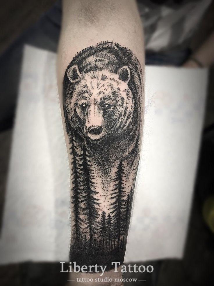 Тату на икру мужские фото медведь