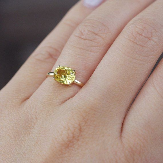 Yellow Sapphire Ring Oval Engagement Ring Yellow Sapphire Engagement Ring Yell Yellow Sapphire Ring Engagement Yellow Sapphire Rings Yellow Engagement Rings