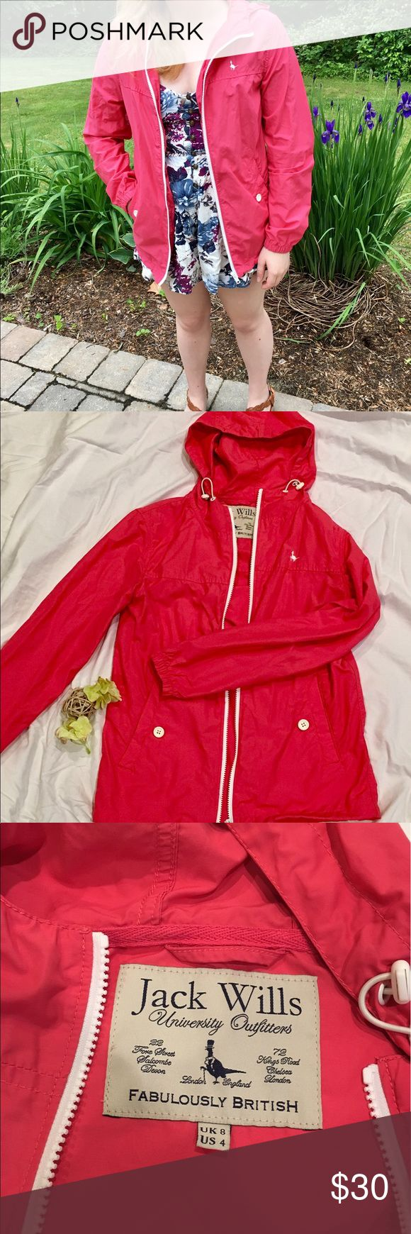 Pink Jack Wills Rain Jacket Cute rain jacket with white details that elevate it from just functional to fashionable as well. Jack Wills is a British company that sells high quality items. Only worn a few times and in perfect condition. Jack Wills Jackets & Coats