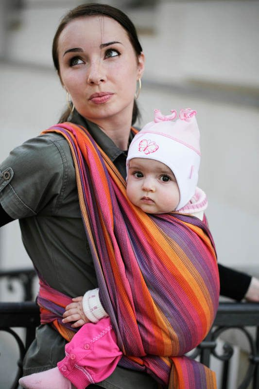 Baby Sling, Broken Twill Weave (bamboo + cotton) - Sunset Rainbow - size XS