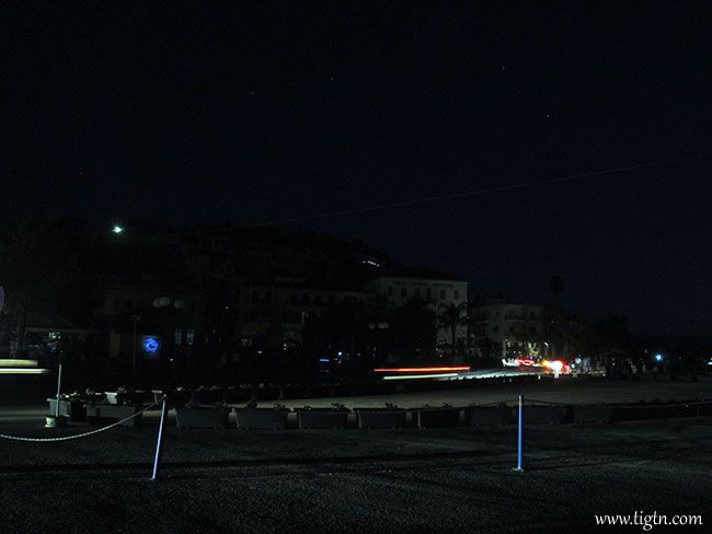 No lights in town with the exception of the headlamps from cars on the street during a power outage in #Nafplio, #Greece in August 2014.