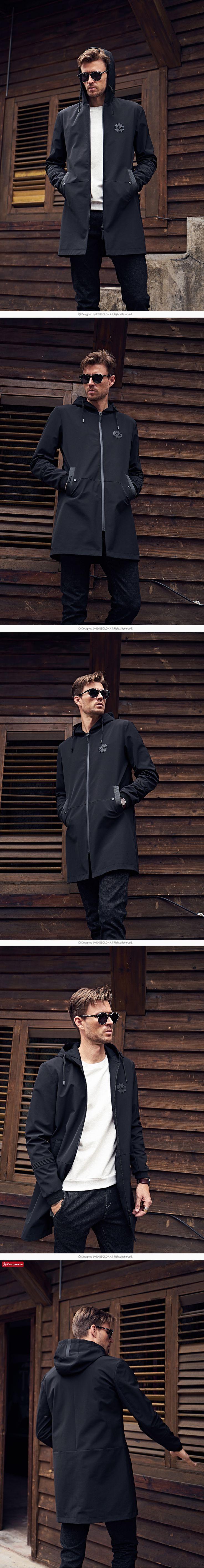 Enjeolon marque nouvelle hoodies longue tranchée manteau hommes vêtements Qualité mâle noir tranchée manteau coupe-vent veste plus la taille