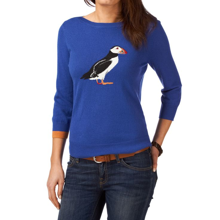 Joules Puffin Jumper - Seablue | Free UK Delivery on All Orders. Puffins are Newfoundlands Provincial bird!