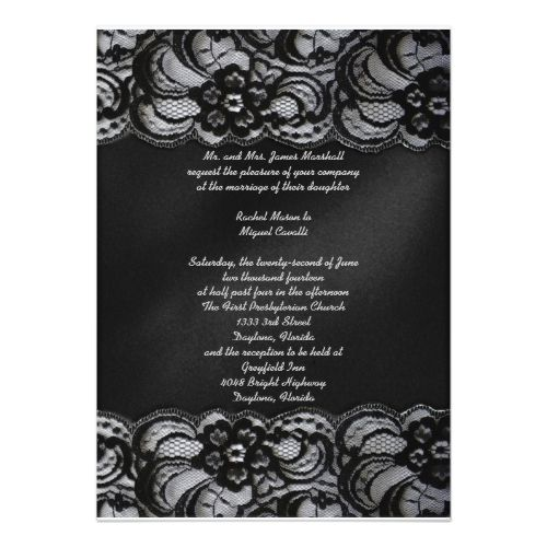 Gothic Wedding Invitations Black Lace Invitation