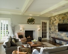 stone wall, wood, fireplace...Wall Colors, Living Rooms, Room Painting Colors, Families Room Design, Stones Wall, Livingroom, Traditional Family Rooms, Traditional Families Room, Stone Walls