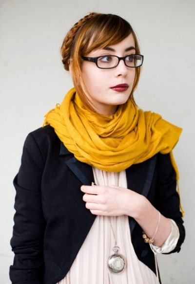 pocket watch necklace, blazer & scarf: professional geek chic #fashion #office-wear