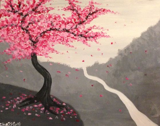 18 best paint nite faves images on pinterest paint party for Canvas painting of cherry blossoms