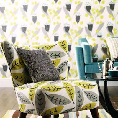 yellow, grey and teal: Decoration Fabrics, Prints Patterns, Sanderson Chairs, Applying Patterns, Fabrics Patterns, Decoration Idea, Color Patterns, Cocktails Chairs, Architecture Design
