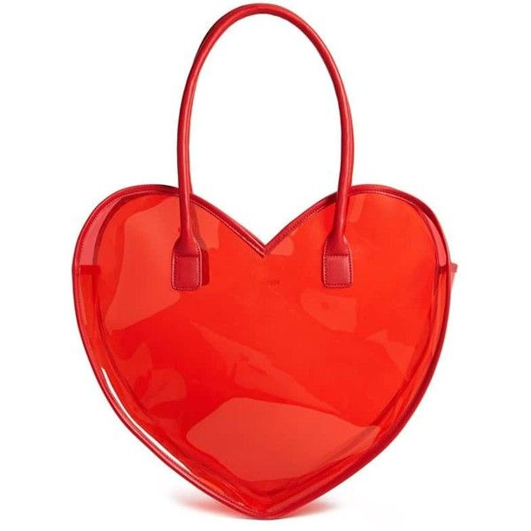 Forever21 Vinyl Heart Tote Bag found on Polyvore featuring bags, handbags, tote bags, red, tote purses, clear vinyl handbags, clear tote, vinyl tote and handbags totes