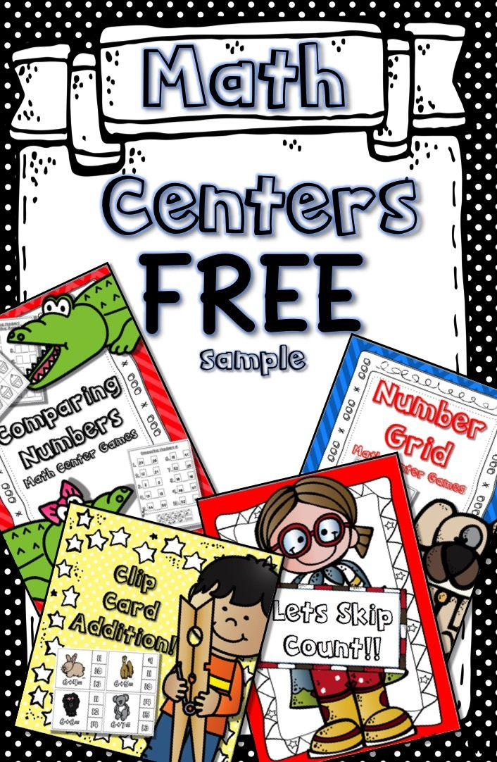 Math Centers FREE!! Includes: Skip Counting, Clip Card Addition, Number Grid Practice, and Comparing Numbers! For Kindergarten, 1st and 2nd Grades!